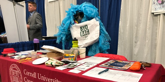 Plady, the Hudson River Plastic Bag Creature, helped launch the Dutchess S.U.P.P.P. Campaign at the Dutchess County Think Local First Business & Hospitality Expo.