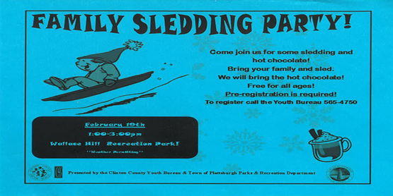 Picture of Little Boy Sledding under title: Family Sledding Party