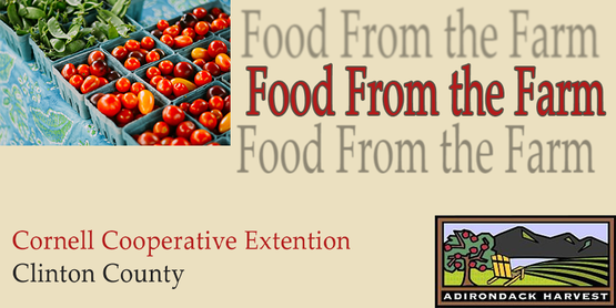 Food From the Farm event title with Adirondack Harvest logo, Cornell Cooperative Extension of Clinton County Logo, and an image of produce