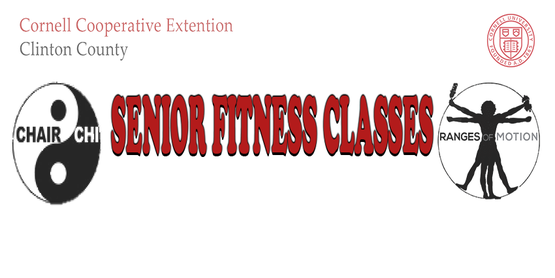 Senior Fitness Class Title with Range of Motion Logo, Chair-Chi Logo, Cornell Cooperative Extension of Clinton County Word Font and Cornell Emblem