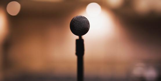 Black microphone.