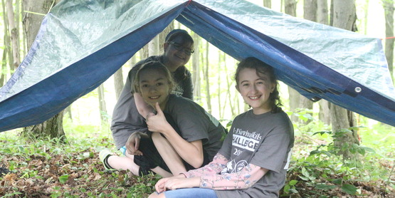 2018 4-H Survival Skills Challenge Girls under shelter