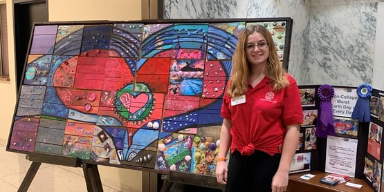 """2020 Capital Days. 4-H Youth representing Relatives as Parents Program with the """"Travelling Eco-mural""""."""