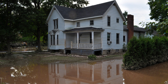 Flooded yard in Schoharie County after Hurricane Irene (2011)