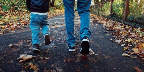 dad son family walking fall