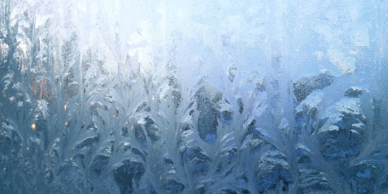 Ice crystals on a window, January 2014