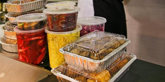 Take out food containers.