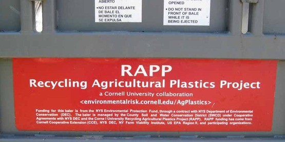 """Label on the """"Bigfoot Baler"""" from Cornell's Recycled Ag Plastics Project (RAPP)"""