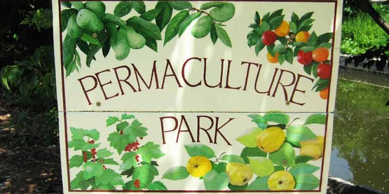 Ithaca Permaculture Park sign at Conley Park, Ithaca