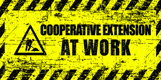 "road sign in yellow and black with icon of person with a shovel and words ""Cooperative Extension at Work"""