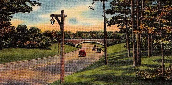 Northern State Parkway, Nassau County, from a vintage postcard