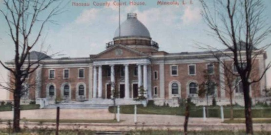 Nassau County Courthouse, Mineola NY from a vintage postcard