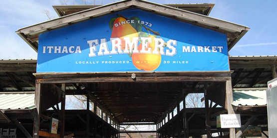 Ithaca Farmer's Market entrance sign