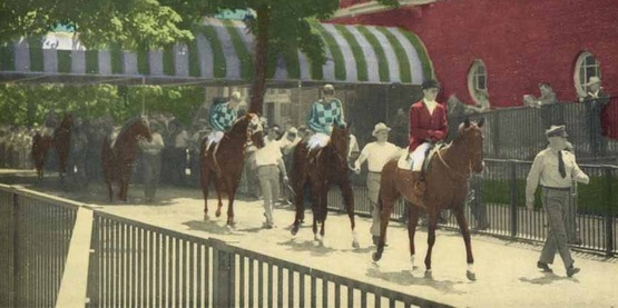Horses at Belmont Park, from a vintage postcard