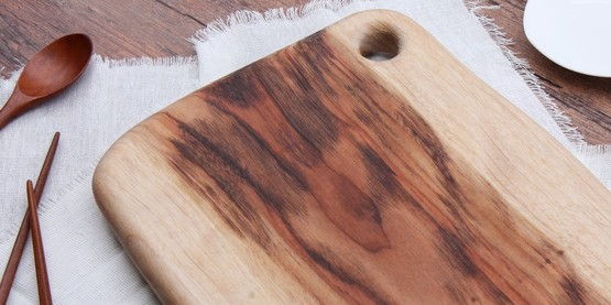 Wooden table cutting board spoon chopsticks