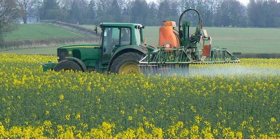 Crop spraying near St Mary Bourne. The crop is rapeseed. Spray product unknown.