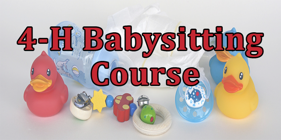4-H Babysitting Course title with picture of red and yellow rubber ducky