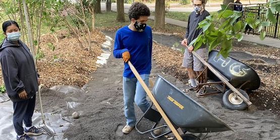 Summer youth employees from Workforce NY landscaping at Conley Park aka the Permaculture Park Project