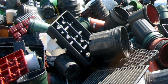 Plastic garden pots and trays being recycled at the 2008 Gardener's Pot Swap recycling event at CCE-Tompkins.