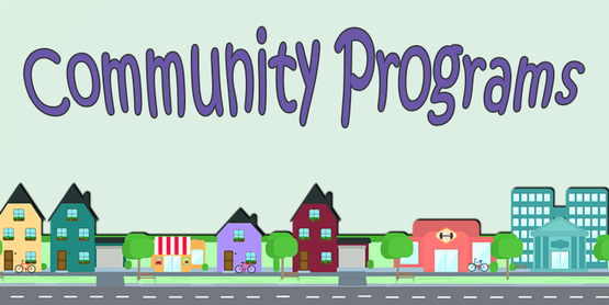 Community Programs title with vector drawing of a small village