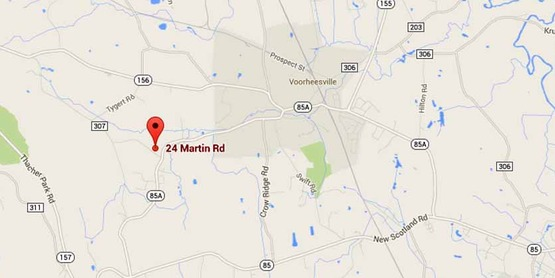 Google map screenshot showing location of CCE-Albany at 24 Martin Road, Voorheesville, NY 12186