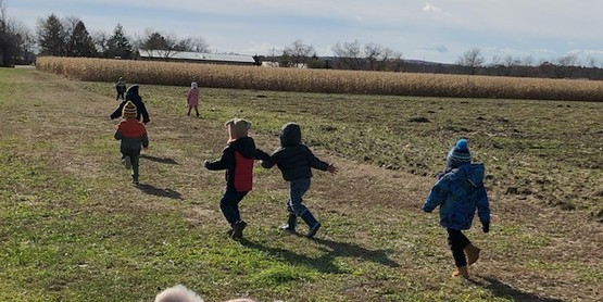 running  in fields little farmers