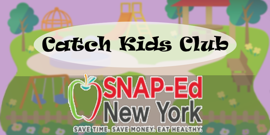 Catch Kids Club with Snap-Ed Logo and background a cartoon of playground