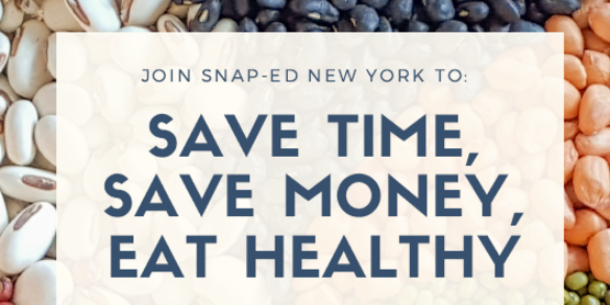 Save Time, Save Money, Eat Healthy graphic