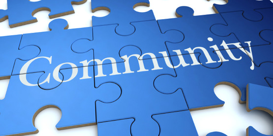 """jigsaw puzzle spelling out the word """"Community"""""""