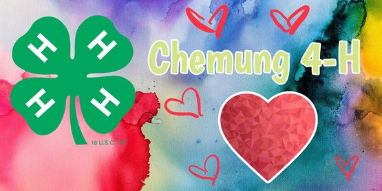 chemung county 4-h on water color background with a heart