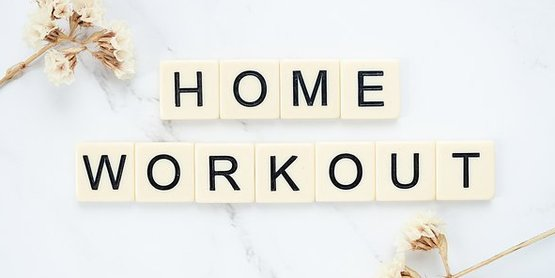 home workout spelled in scrabble tiles