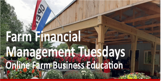 Financial Management Tuesdays title over a store front with open flag