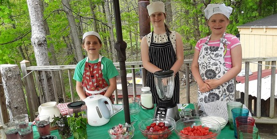 Three participants in the 4-H Cooking Challenge.