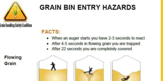 Cornell Cooperative Extension's Field Crops Specialist, Josh Putman, shares information on the dangers associated with grain bin entry and how to avoid these dangers at grain handling facilities (photo provided by the Grain Handling Safety Coalition).