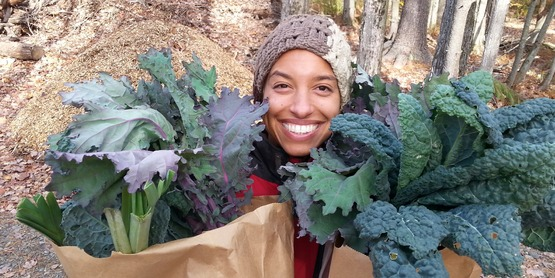 Leah Penniman with greens.