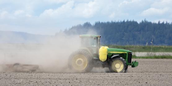 tractor, dust, field