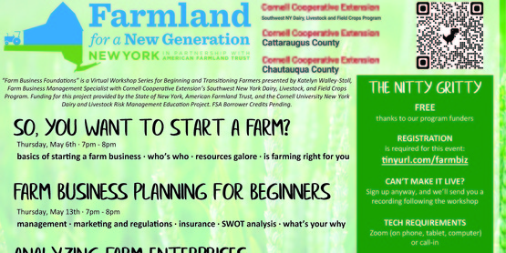 Farm Business Foundations – Quick, Useful, and Free! Farms of all shapes, sizes, and stages invited to learn with Cornell Cooperative Extension
