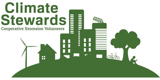 CLimate Stewards cooperative extension volunteers with green cutout profile of a city showing solar panels and wind turbine