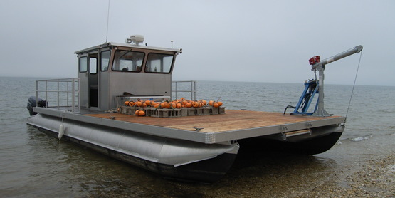 "The ""Shellstar"" barge is the vessel used for the Scallop Project out of SCMELC in Southold."