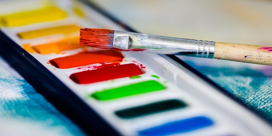 Close up of watercolor palette.