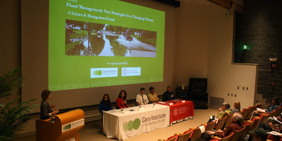 Speakers panel at flood management forum, Cary Institute, May 2013
