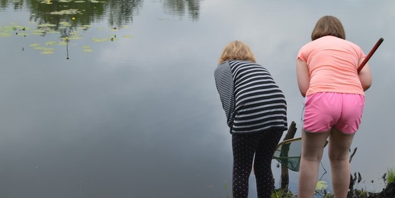 Two children with nets at the edge of a pond looking for creatures.