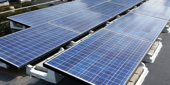 Photo of solar panels on roof of CCE Tompkins