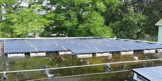 Solar panels on the roof of CCE Tompkins
