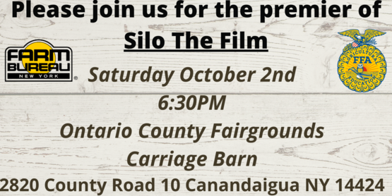 Silo the Film, Saturday, October 2, 2021 at Ontario County Fairgrounds Carriage Barn. Free Admission