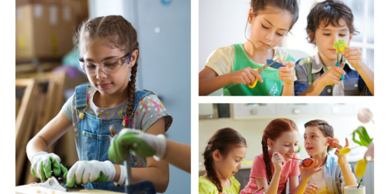 Children participating in various arts and crafts activities