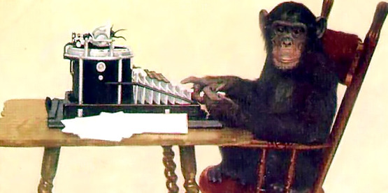 Chimpanzee typing, 1907, New York Zoological Society