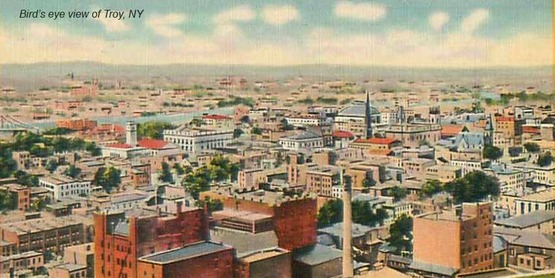 Bird's eye view of Troy, NY from a vintage postcard