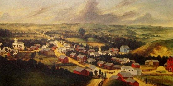 Bird's eye view of Poestenkill NY, 1862 by James H. Hidley (d. 1872), New York Historical Society, Cooperstown NY