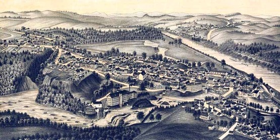 Aerial map of Schaghticoke, NY (1889)